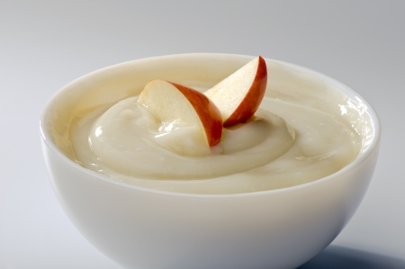 pappy: sweet mousse with apples in white bowl close-up