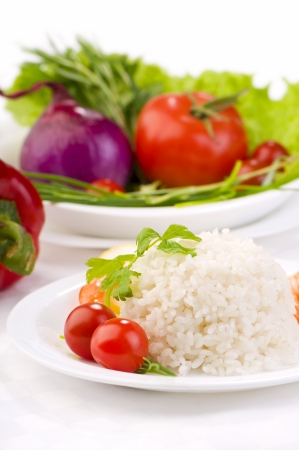 rice with vegetables healthy vegetarian food background photo