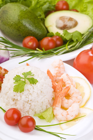 scallion: healthy dietary food  boiled rice, vegetables and prawns on white background