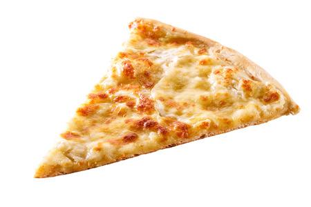 Scheibe Käse Pizza Nahaufnahme isoliert auf weißem Hintergrund