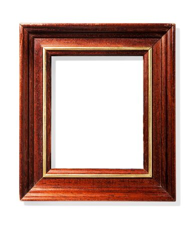 Classic Wooden Frame With Gold Inserts Isolated On White Background ...