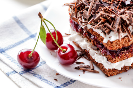 cherry pie: Black Forest cake piece on white plate with cherries berries close-up
