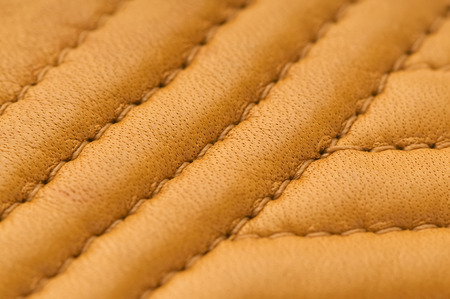 slink: natural brown leather texture with stitch macro  background Stock Photo