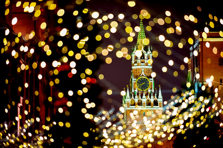 spassky: Moscow Kremlin Spassky Tower at night time with  Christmas lights
