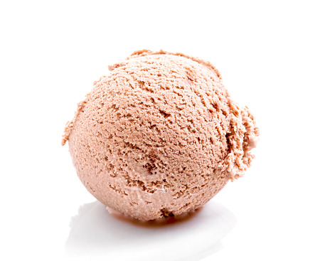 chocolate ice cream scoop close-up isolated on white background