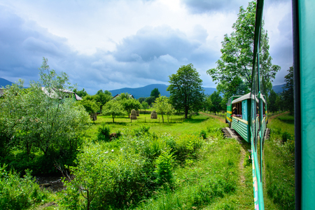 In the Ukrainian Carpathians there is a narrow-thrusted train, which arranges a sightseeing tour of sightseeing places.
