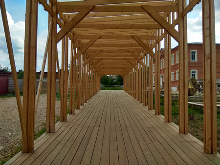 Inside perspective view of under construction wooden architecture 2018