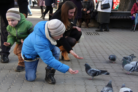 The boys with mother on the square feed pigeons 2018 Stockfoto