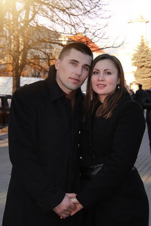 husband and wife celebrate valentines day on the streets of the city 2018