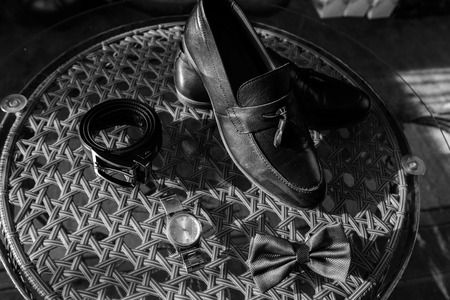 details of the wedding morning of the brides shoes, strap, butterfly, watches 2019 Stock Photo