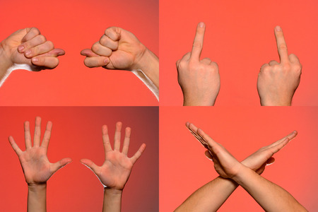 Male hand gestures and signs collection isolated over red background. Set of multiple pictures. Part of series 2019