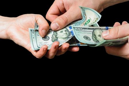 Payment of services, receiving bribes, exchange for information, Dollar bills 2019 Stok Fotoğraf
