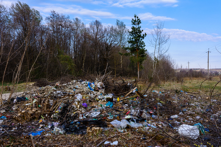 The garbage is scattered by people through the woods and reservoirs, the ecological disaster of the planet, the destruction of nature and wildlife. 2019 Stok Fotoğraf