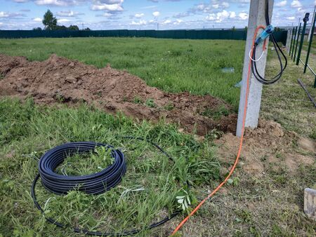 Electrical wiring takes place in the ground, laying electrical wiring. 2019