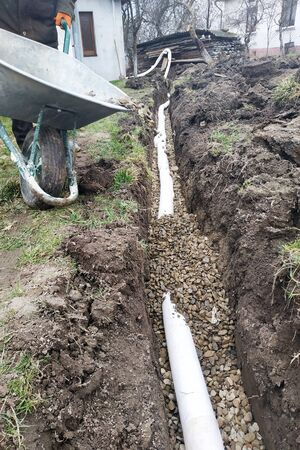 In the yard, workers carry out drainage works for draining water. 2019