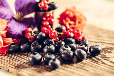 Beautiful fragrant and delicious Cyanococcus berry on a brown background and a beautiful composition. 2019 Banque d'images