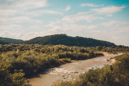 Beautiful landscape from the top shows the river and field in the countryside. 2019