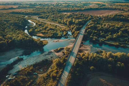 Summer rural landscape, aerial view,Forest and river from drone flight. 2019