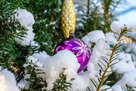 A real Christmas tree in the Ukrainian village of western Ukraine smothered by snow on the street and decorated with colorful balls 2020