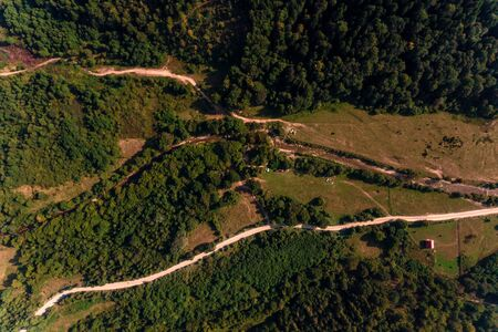 Aerial drone view of mountain, pine forest, river and village, Carpathian, Ukraine 2019