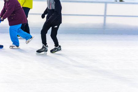 Bukovel, Ukraine February 12, 2019 - people skate. 2019