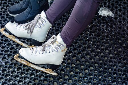 Bukovel, Ukraine February 12, 2019 - skates closeup, hire. 2019 新聞圖片