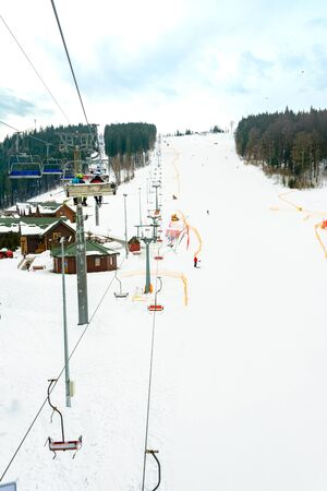 Picturesque landscape of the Carpathians at the ski resort, high lifts for skiers. 2019