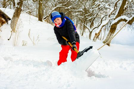 A young boy in the village cleans the snow and makes a walk. 2019