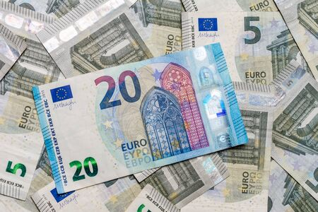 European money is in textures, denominations of 20 and 5 euros. 2019
