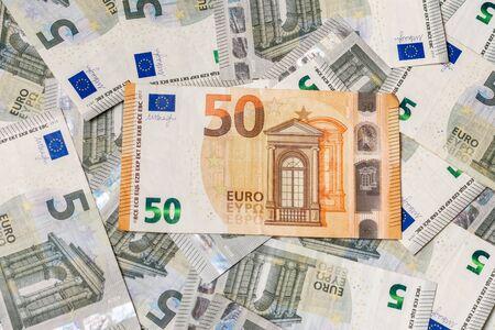 The extraordinary texture of European currency 50 euros outweigh 5 euros. 2019