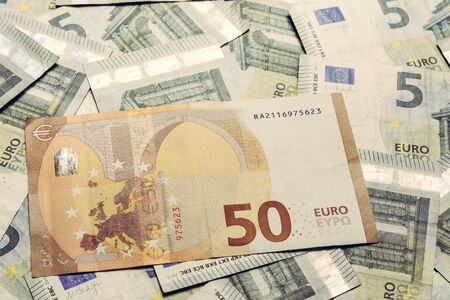 50 euros outweigh the 5 euros, European banknotes are lined in texture. 2019