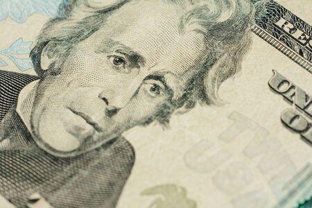 Closure of US money is twenty dollar bills, US twenty dollar bill fragment of macro. 2019 Foto de archivo