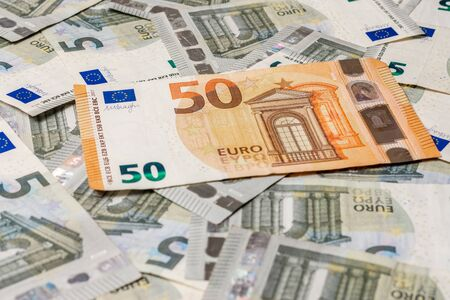 The extraordinary texture of European currency 50 euros outweigh 5 euros. 2019