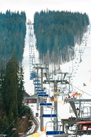 Bukovel, Ukraine, February 3, 2019: Lifts for tourists and vacationing in Bukovel, Ukraine. 2019 Editorial