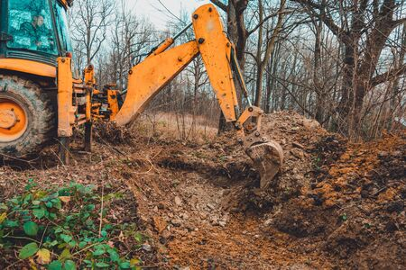 A yellow excavator works on the forest clearing and digs soil. 2020