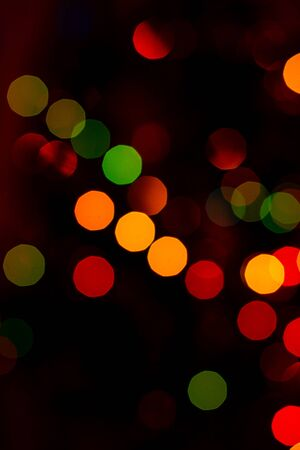 Bokeh of colored round festive Christmas lights.2020 Banque d'images