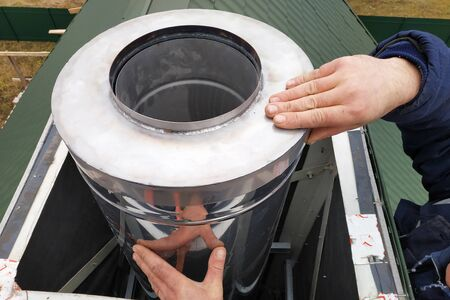 Aluminum ventilation chimneys, the master installs on the roof of the house. Smoke pipe for smoke from the kitchen.2020
