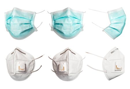 Set of green medical and surgical masks that protect against viruses in a pandemic isolated on a white background. Collection of cut mask at different viewing angles 2021. 6 copies of high resolution.