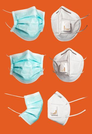 Set of green medical and surgical masks that protect against viruses in a pandemic isolated on a orange background. Collection of cut mask at different viewing angles. 6 copies of high resolution