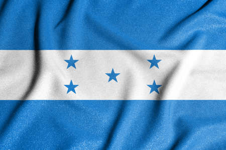 National flag of the Honduras. The main symbol of an independent country. An attribute of the large size of a democratic state. Zdjęcie Seryjne