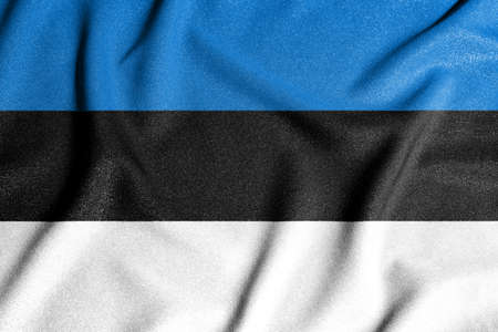 National flag of the Estonia. The main symbol of an independent country. An attribute of the large size of a democratic state. Stock fotó