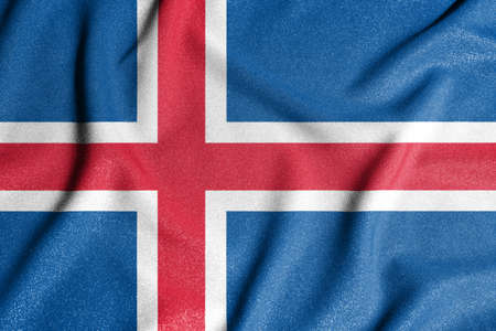 National flag of the Iceland. The main symbol of an independent country. An attribute of the large size of a democratic state. Stock fotó