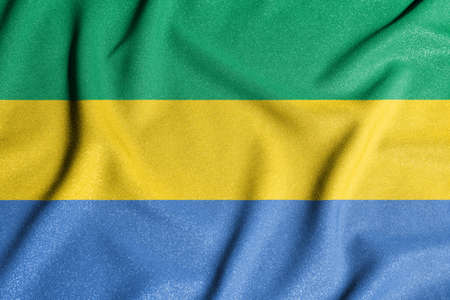 National flag of the Gabon. The main symbol of an independent country. An attribute of the large size of a democratic state.