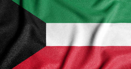 National flag of the Kuwait. The main symbol of an independent country. Flag of Kuwait. 2021