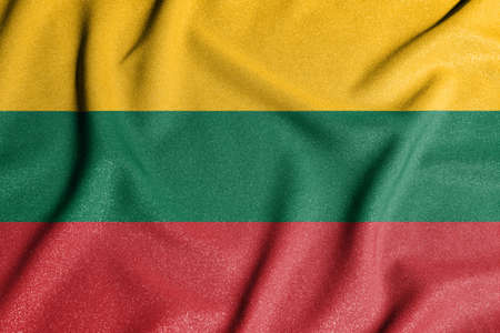 National flag of the Lithuania. The main symbol of an independent country. Flag of Lithuania. 2021