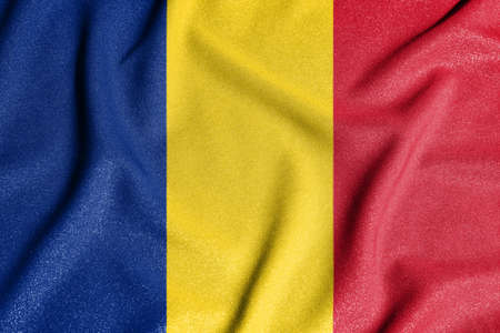 National flag of the Romania. The main symbol of an independent country. Flag of Romania. An attribute of the large size of a democratic state. Stock Photo