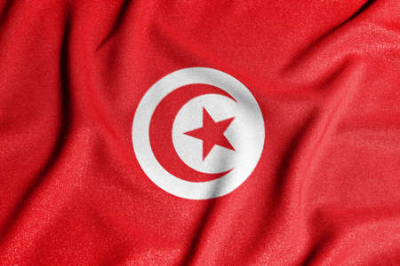 National flag of the Tunisia. The main symbol of an independent country. Flag of Tunisia. An attribute of the large size of a democratic state.