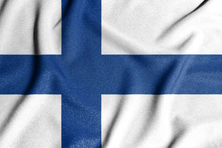 National flag of the Finland. The main symbol of an independent country. Flag of Finland. An attribute of the large size of a democratic state.