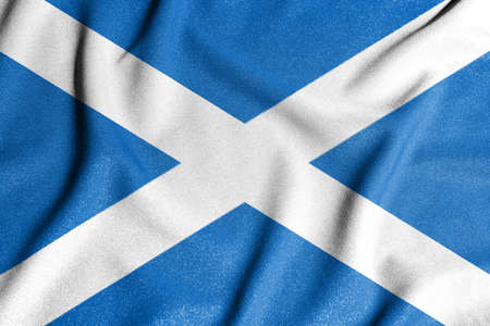 National flag of the Scotland. The main symbol of an independent country. Flag of Scotland. An attribute of the large size of a democratic state.