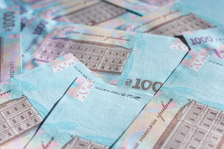 Ukrainian hryvnia in the face value of one thousand hryvnias, the texture of one thousand hryvnia notes on the reverse side. 2021